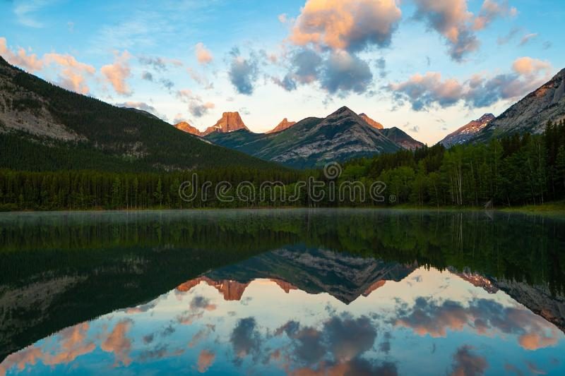 Sunrise at Wedge Pond, Kananaskis, Alberta, Canada. Sunrise at Wedge Pond, Kananaskis Country, Canadian Rocky Mountains, Alberta, Canada royalty free stock images