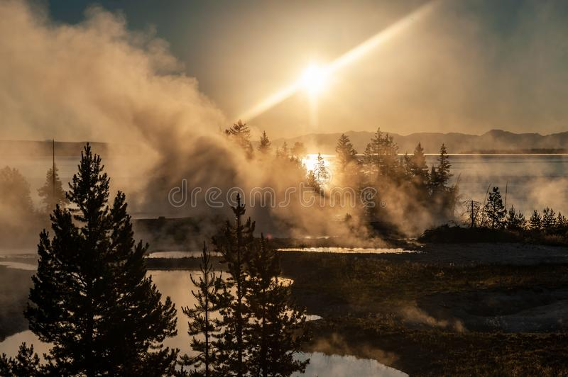 Sunrise the the West Thumb Aera of Yellowstone National Park. Early morning impression of the West Thumb Area in Yellowstone National Park royalty free stock photos