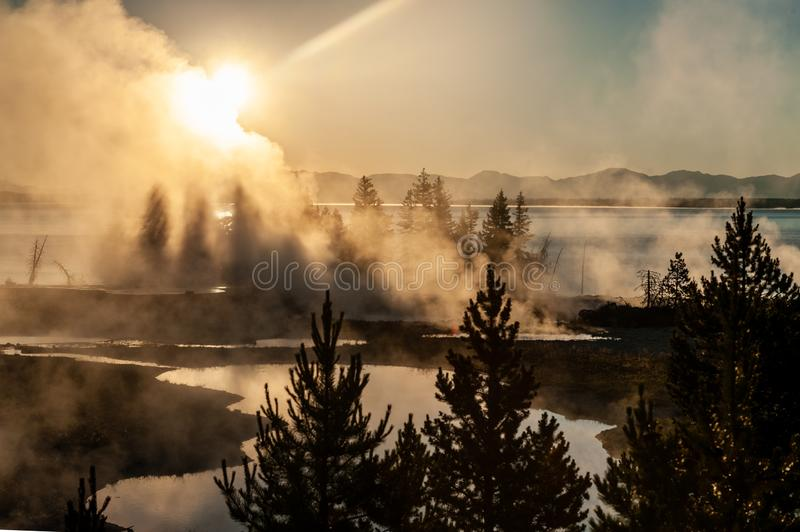 Sunrise the the West Thumb Aera of Yellowstone National Park. Early morning impression of the West Thumb Area in Yellowstone National Park stock photography