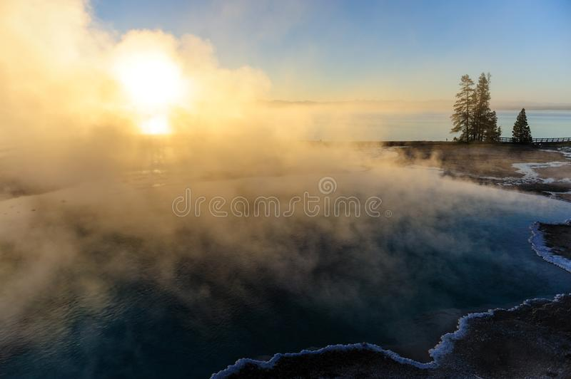 Sunrise in West Thumb. A sunrise in the West Thumb Area in Yellowstone National Park royalty free stock photography