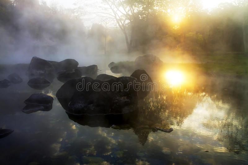 Sunrise whit steam royalty free stock photography
