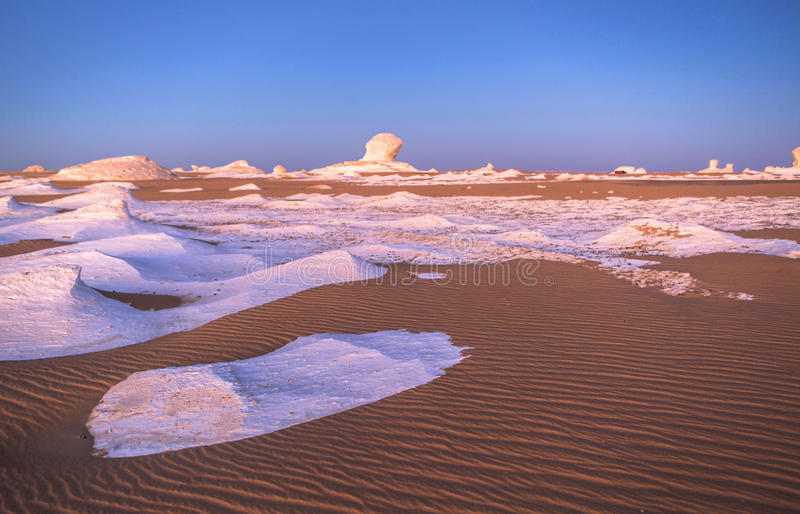 Sunrise at White Desert, Egypt stock photos