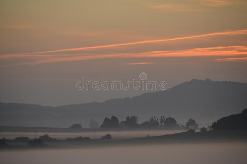 Sunrise in the Mid-Willamette Valley, Oregon. Sunrise in the Willamette Valley west of Salem, Oregon with orange cloud stock photos