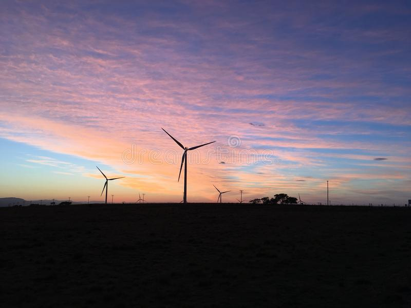 Wind Turbines Morning Sunrise stock photography