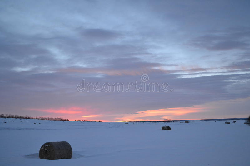 Sunrise on a winter day stock photography