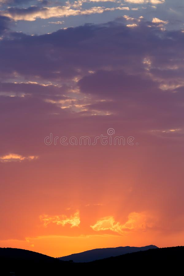 Free Sunrise With Colourful Sky Over The Hills Stock Photo - 122338040