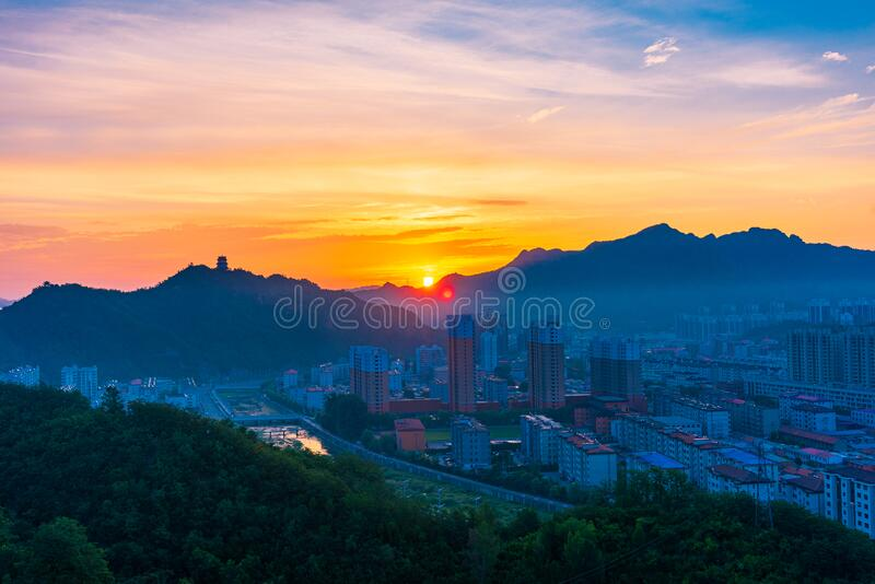 Sunrise in Xinglong County, Hebei Province, China stock photos