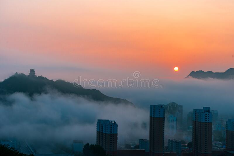 Sunrise in Xinglong County, Hebei Province, China royalty free stock photos