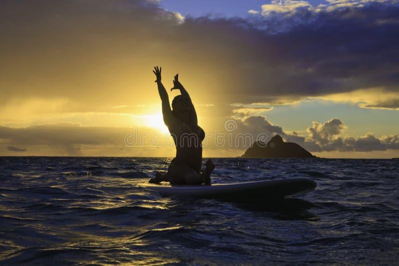 Download Sunrise Yoga On Paddle Board Stock Image - Image: 26601067