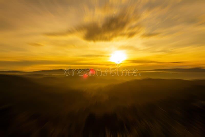 Sunrise zoom explosion stock image