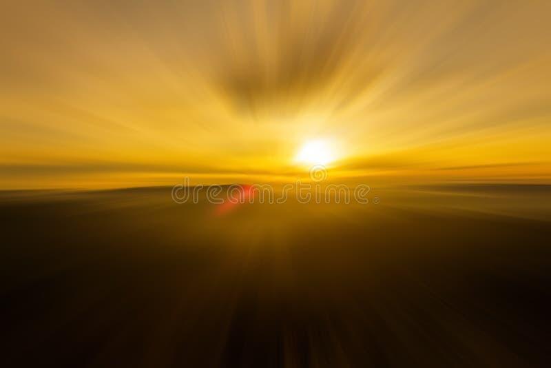 Sunrise zoom explosion stock photo