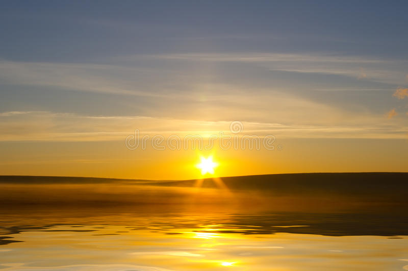 Sunrising on the sea stock photography