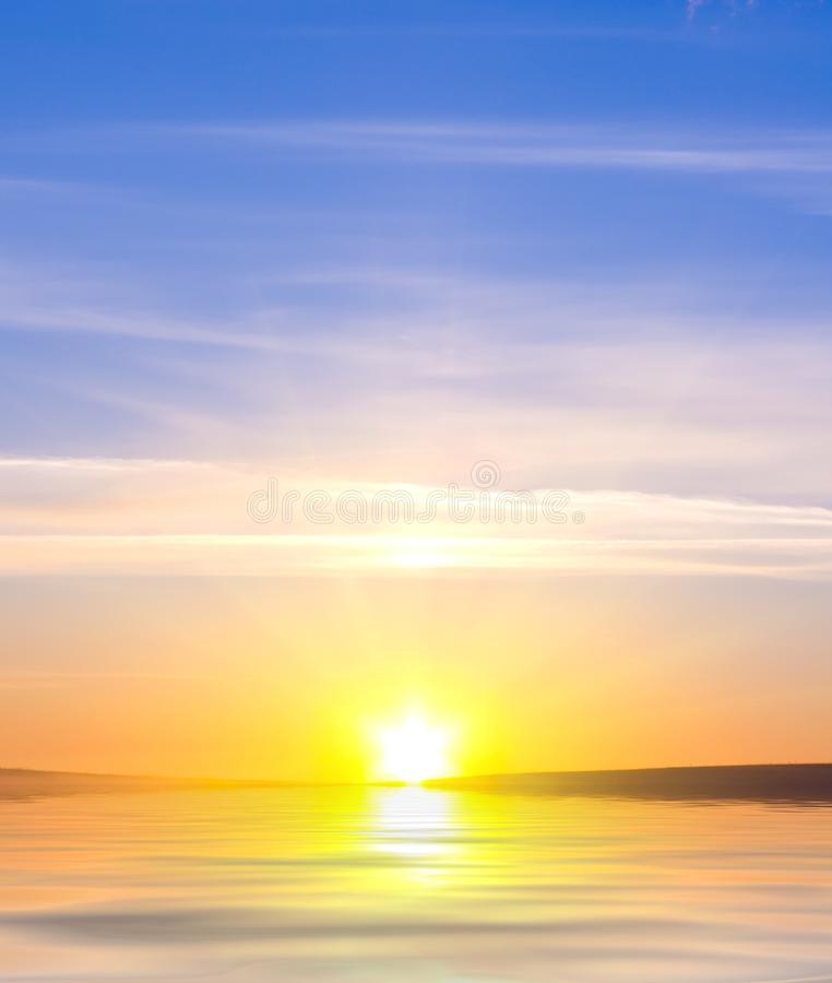 Sunrising on the sea royalty free stock photos