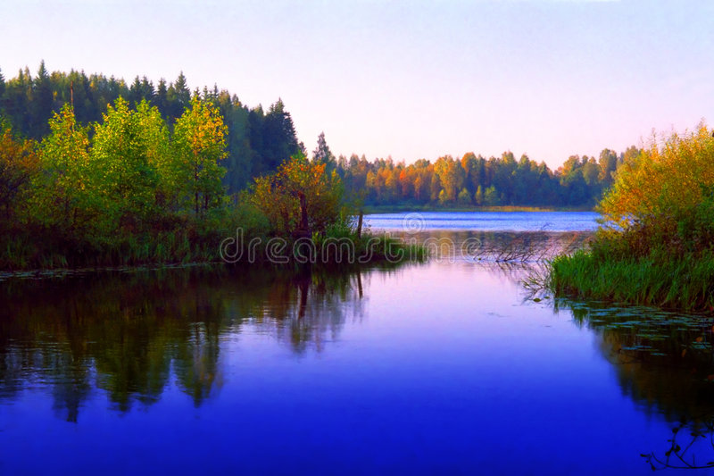Download Sunrize lake stock photo. Image of bushes, reflection - 5681942