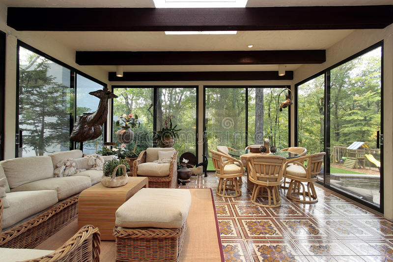 Sunroom with patterned tile stock photos