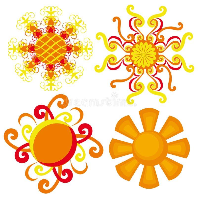 suns le soleil décoratif sur un fond blanc illustration stock