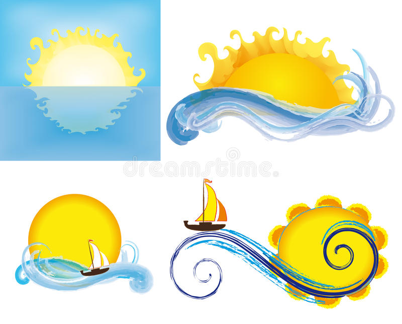 Download Suns and seas stock vector. Image of boat, sailboat, sunray - 25951832