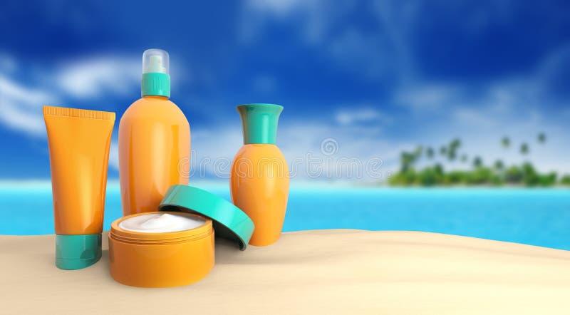 Sunscreen σε μια τροπική παραλία ελεύθερη απεικόνιση δικαιώματος