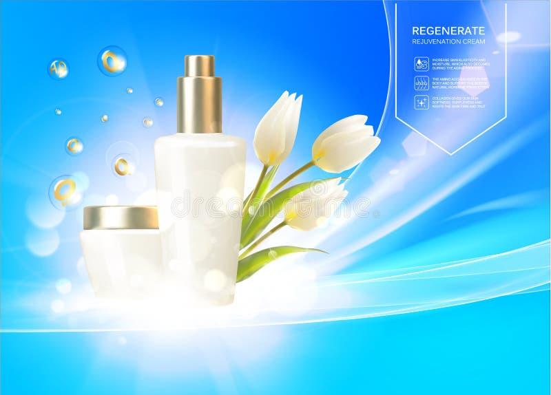 Sunscreen σχέδιο ετικετών για τις θερινές διακοπές σας o Η άσπρη τουλίπα ανθίζει την ανθοδέσμη στο μπλε υπόβαθρο ελεύθερη απεικόνιση δικαιώματος