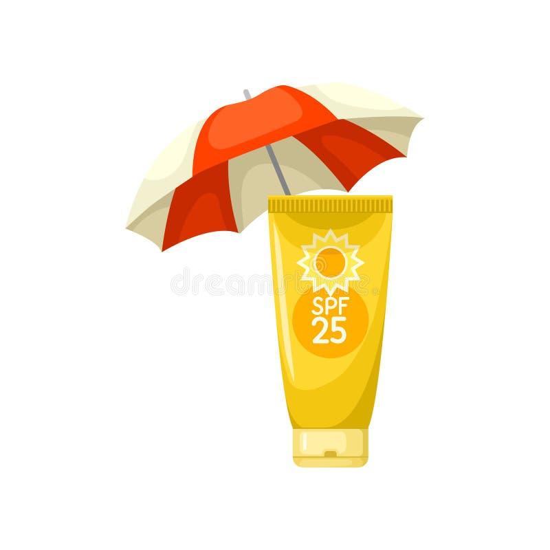 Sunscreen σωλήνας λοσιόν και ομπρέλα παραλιών Φροντίδα δέρματος και θέμα υγείας Επίπεδο διάνυσμα για τη διαφήμιση του ιπτάμενου ή διανυσματική απεικόνιση