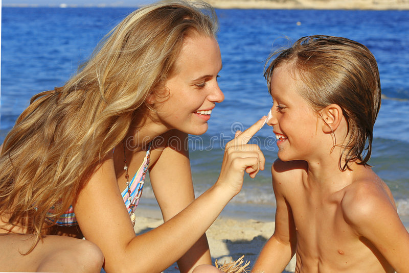 sunscreen care, sun protection royalty free stock images
