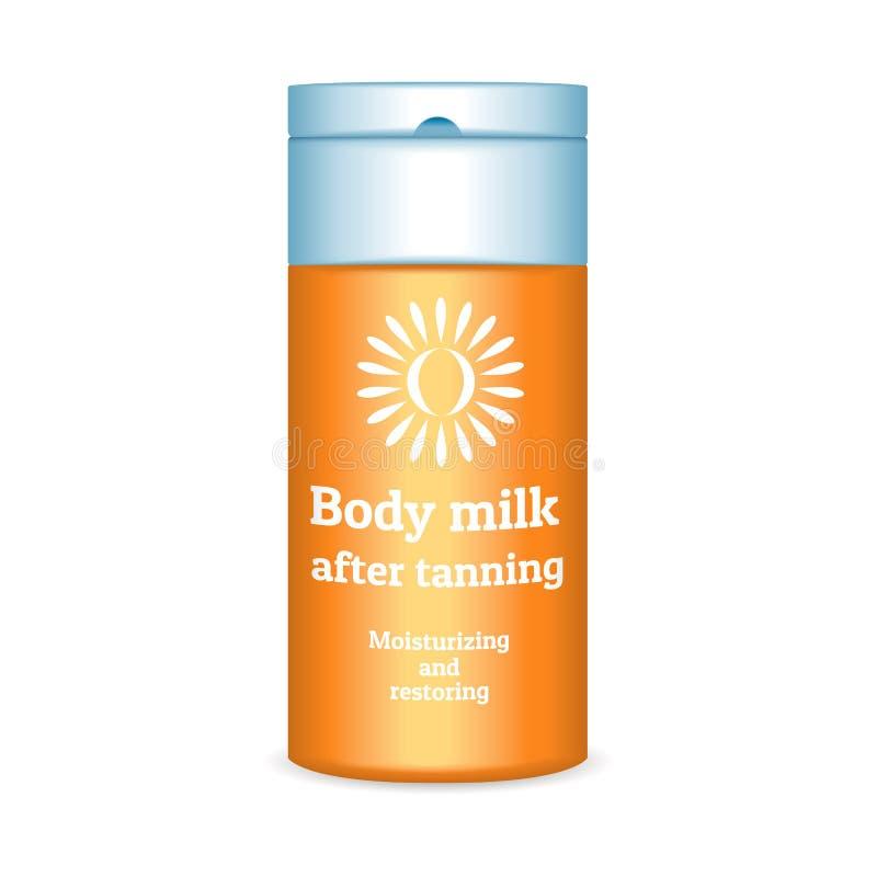 Sunscreen ciała mleka ikona, realistyczny styl royalty ilustracja