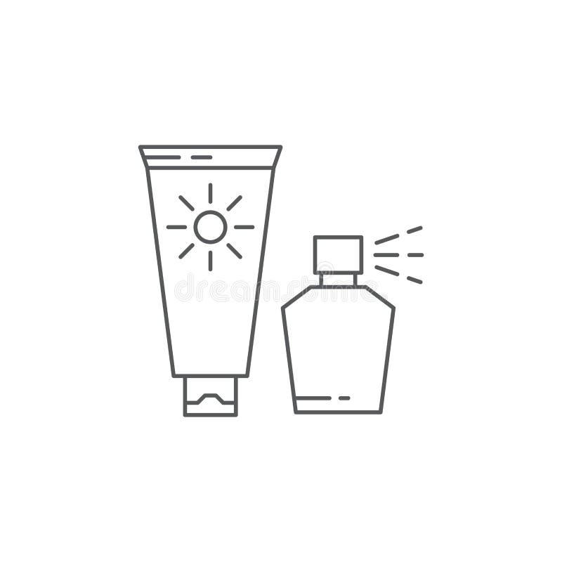 Sunscreen cream tube vector icon symbol isolated on white background stock illustration