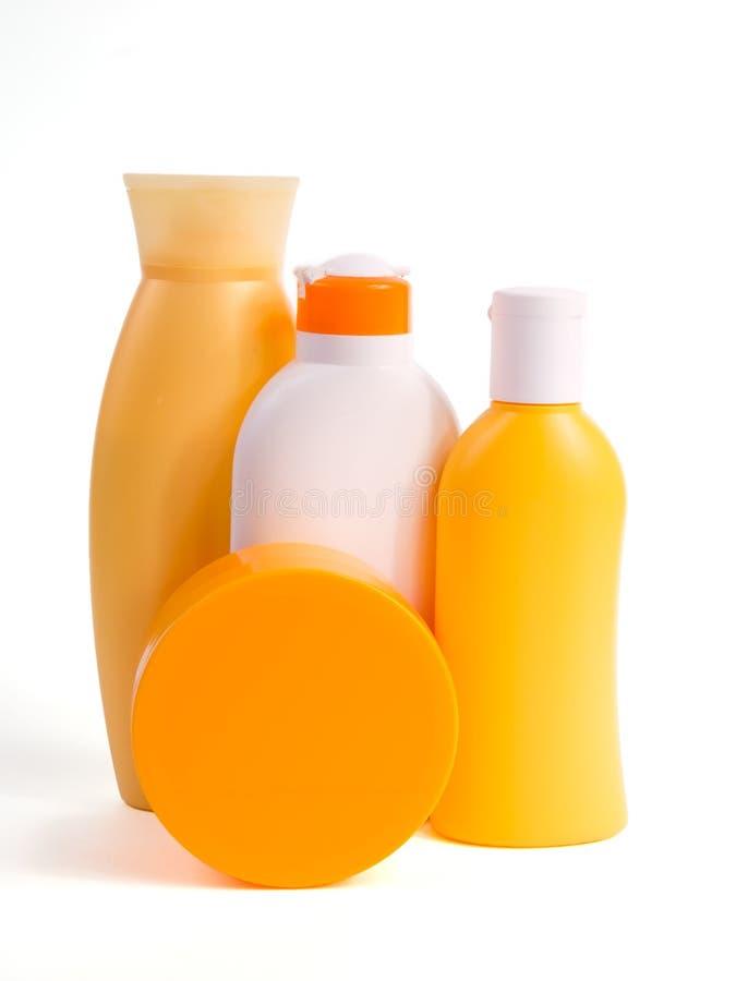 sunscreen för 2 produkter royaltyfri bild