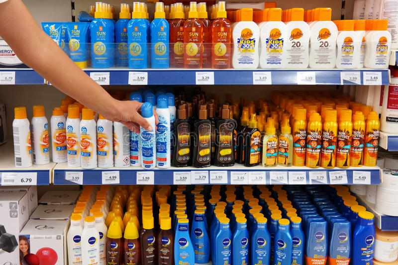 Sunscreen, lotions and oil sprays royalty free stock photo