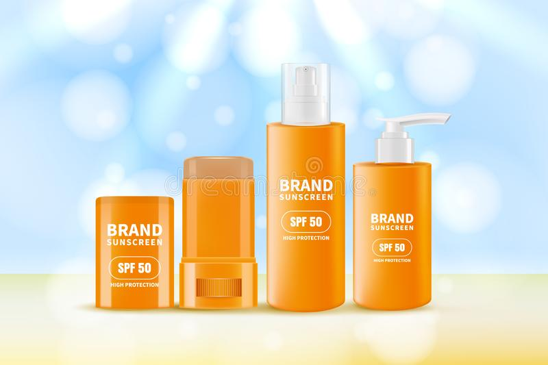Sunscreen and sunblock cream and stick. Vector realistic 3d illustration of sun protection cosmetics vector illustration