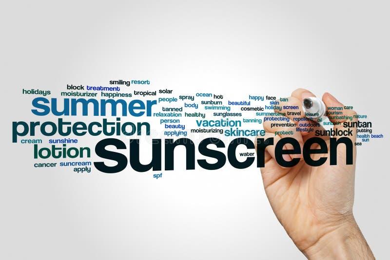 Sunscreen word cloud royalty free stock photo