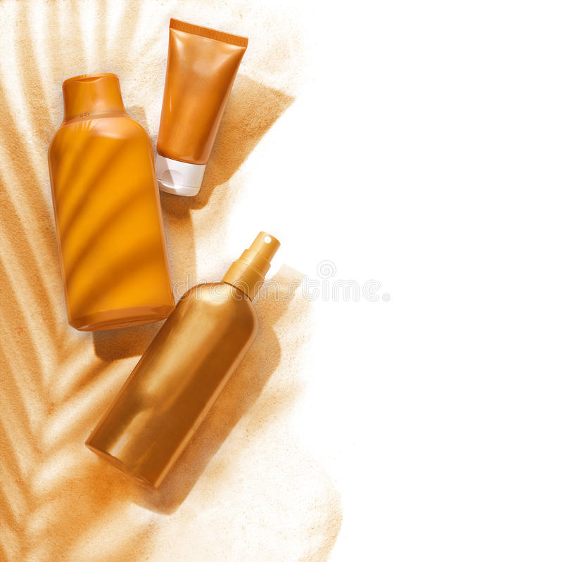 Sunscreenbehållare arkivbilder