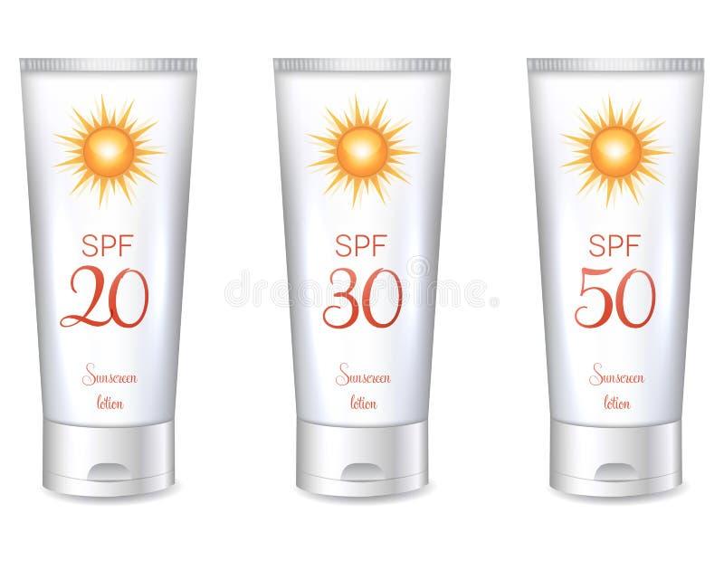 Sunscreenlotionflaskor royaltyfri illustrationer