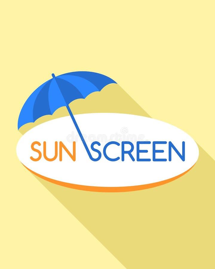 Sunscreenparaplylogo, plan stil stock illustrationer