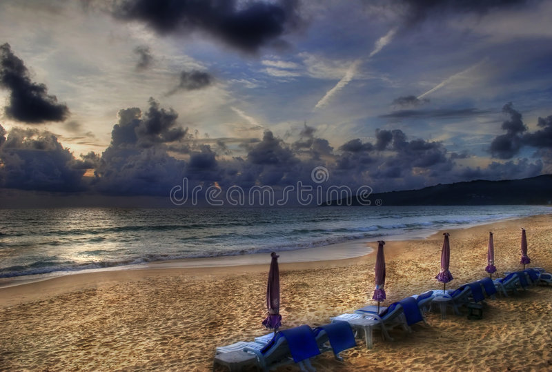 After sunsen on Karon beach.. After sunset. Photografed on Karon beach, Phuket Island, Thailand stock photography