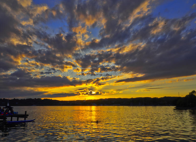 Sunset湖 免版税库存照片