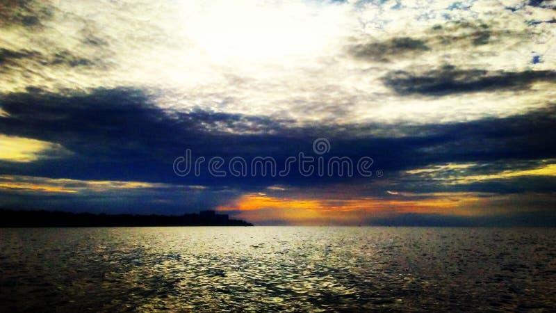 Sunset湖 图库摄影
