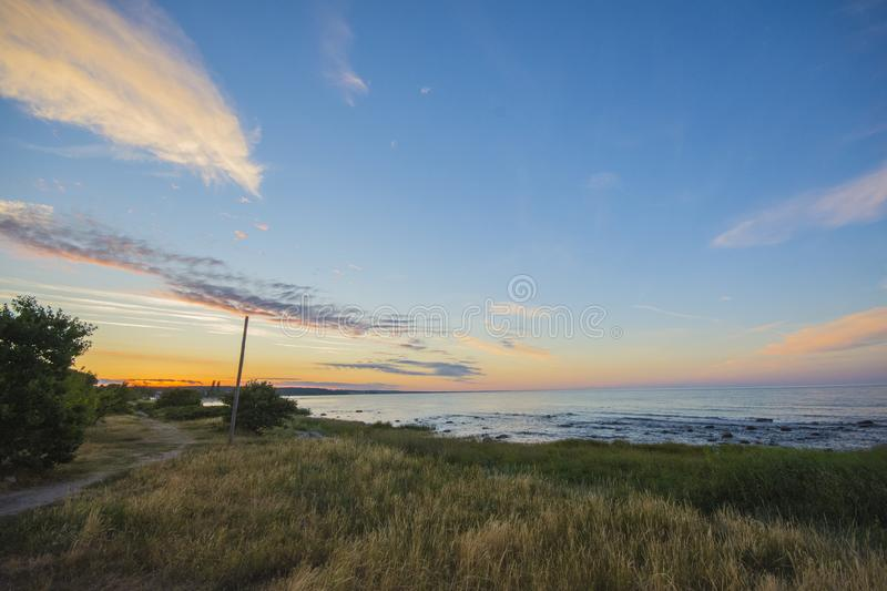 Sunset at Österlen in sweden royalty free stock photography