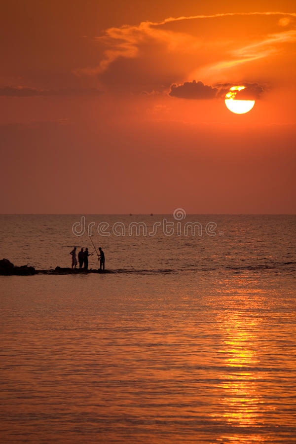 Sunset. Beautiful sunset at mediterranean sea royalty free stock photography
