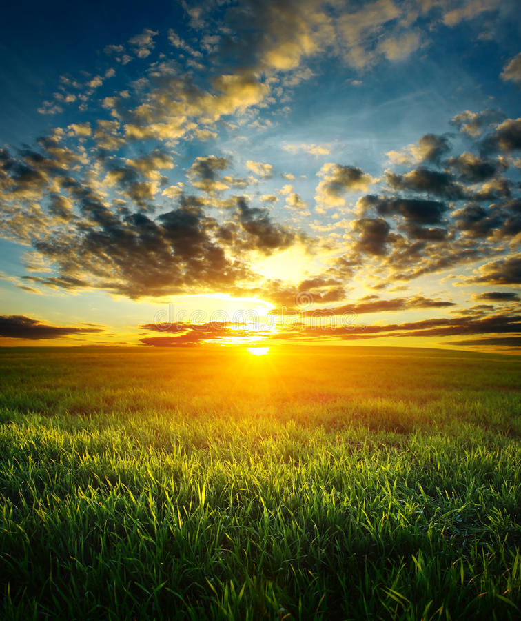 Download Sunset stock image. Image of land, meadow, scene, grass - 12661367