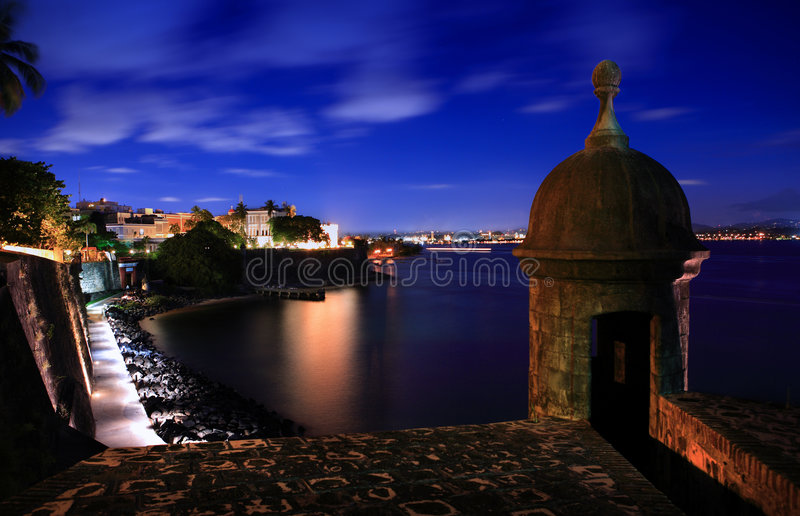 Sunset. View of San Juan bay and the Fortaleza Castle