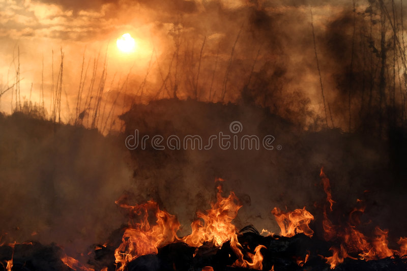 Sunset. Hell's Fire - Flames, fire and sunset royalty free stock photography