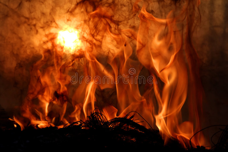 Sunset. Hell's Fire - Flames, fire and sunset royalty free stock photos