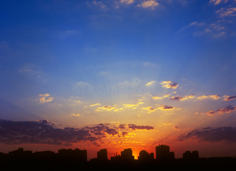 Download Sunset. stock image. Image of sunbeam, multicolored, orange - 25566145