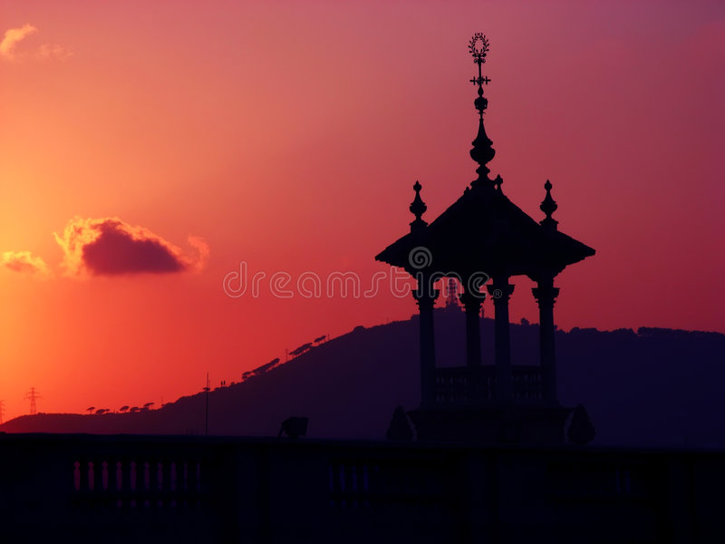 Download Sunset stock photo. Image of silhouette, montjuic, house - 3416244