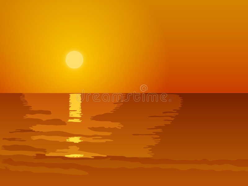 Download Sunset stock vector. Image of wave, seascape, sunrise - 3961232