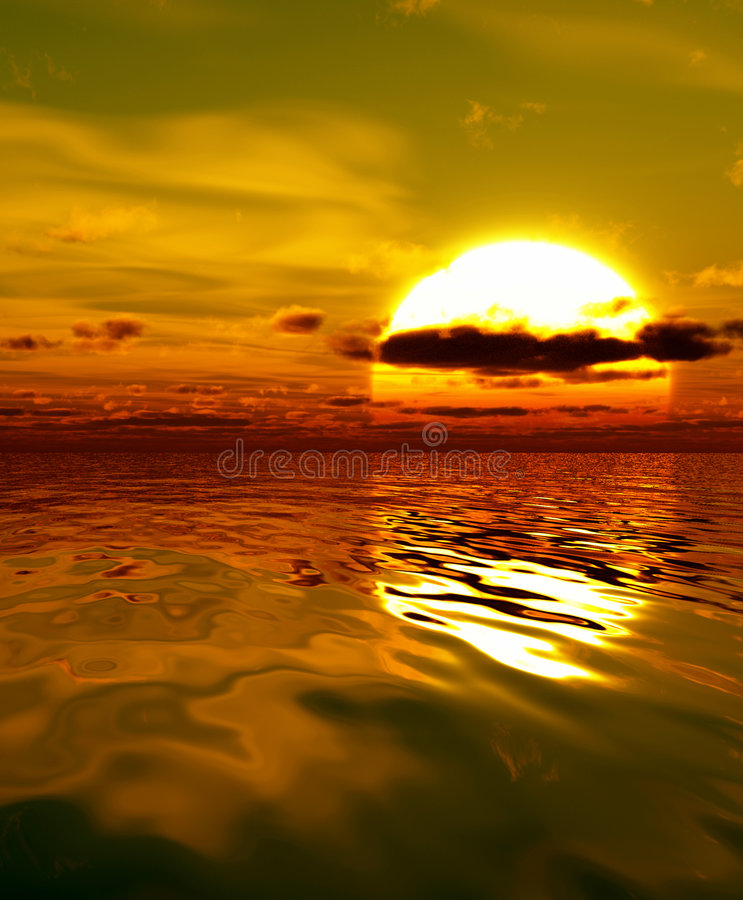 Sunset. Unusual sunset over the sea stock photography