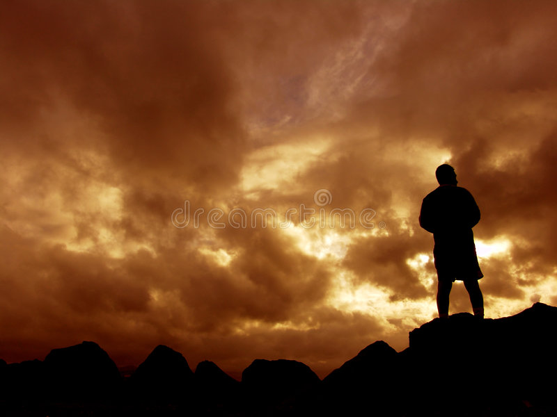 Download Sunset stock photo. Image of outdoor, rocks, people, clouds - 460760