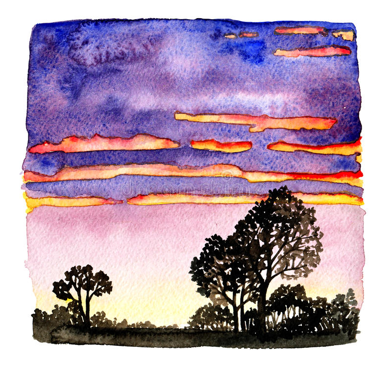 Sunset-2 ilustração do vetor