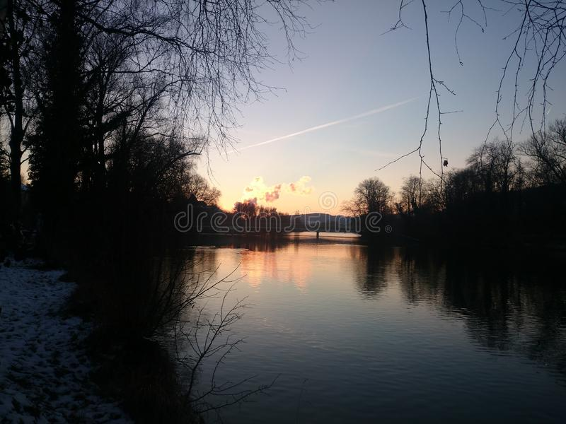 Sunset in Aarau stock photography